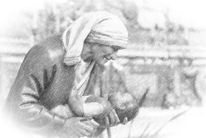Mother Teresa holding a child