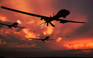 Military drones armed with missiles