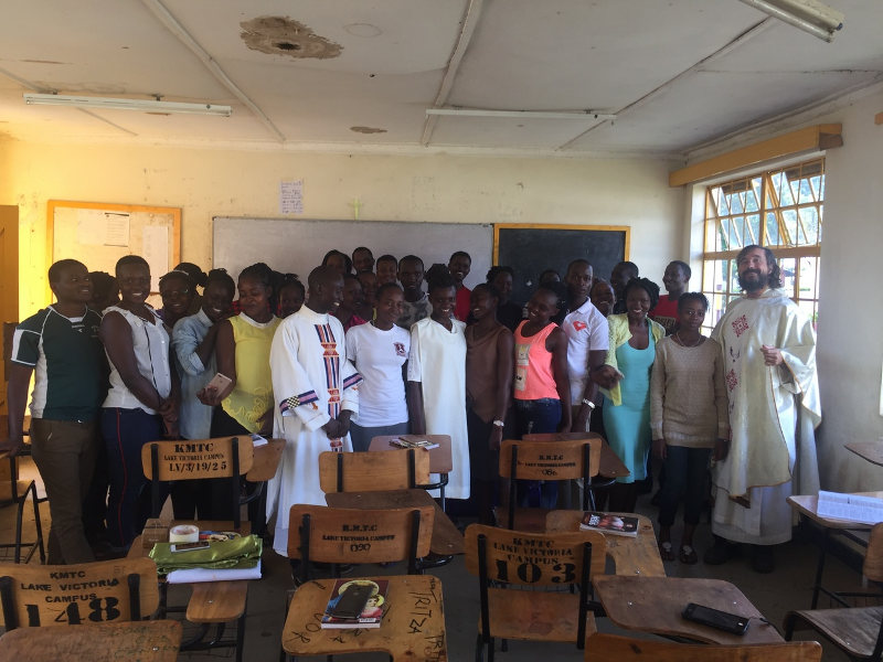 Fr. Maturi with students of the Kisumu Technical College